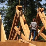 High Sierra Lodge Course of Construction Large Custom Rafters Installation - Strawberry