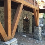 High Sierra Lodge Course of Construction Heavy Timber Deck w/ Stone - Strawberry
