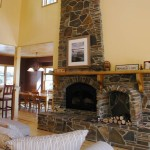 Snow Country Farm House Real Stone Masonry Fireplace - Arnold